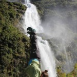 Handstand, Southerland Falls, Milford Sound Area, South Island, New Zealand